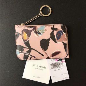 Kate Spade Cameron Paper Rose L-Zip Card Holder